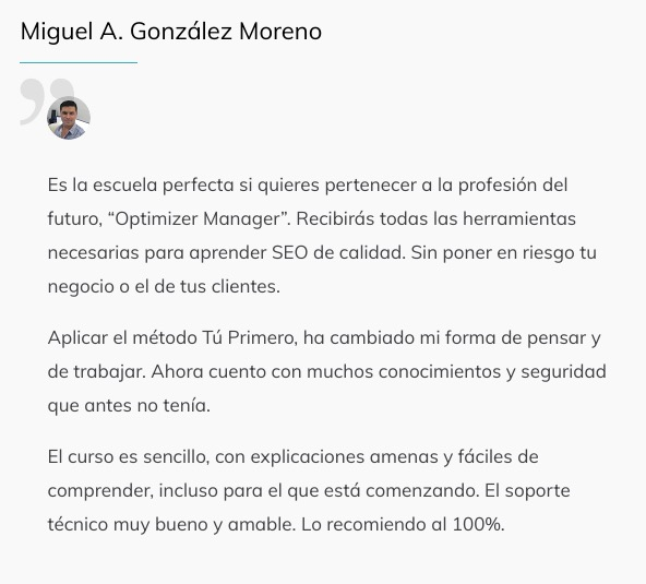 Optimizer Maneger Testimonios Alumnos 2