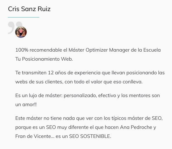 Optimizer Maneger Testimonios Alumnos 5