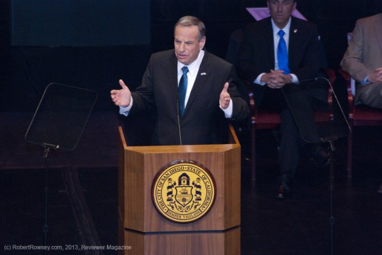 Bob Filner, San Diego's new mayor, at the Balboa Theater podium giving his first State Of The City Address. He's a Democrat.