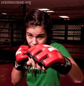 Tyra Parker, in the sparring ring at Victory MMA And Fitness. Photo by Reviewer Rob.