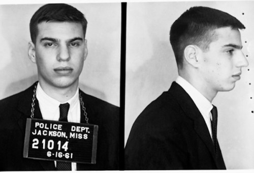 "Bob Filner's ""Freedom Rider's"" booking photo. From the ""Mississippi State Sovereignty Commission Records"" Collection. Original photograph scanned as TIFF in 1994-95 by MDAH pursuant to ACLU v. Fordice, 969 F.Supp. 403 (S.D. Miss. 1994); original rescanned as TIFF in accordance with MDAH digital archival specifications for photographs, 2002. Credit: Courtesy of the Mississippi Department of Archives and History."