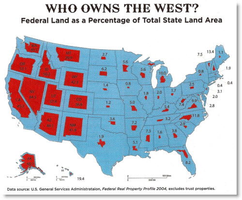 Who Owns the West? Federal Land as a Percentage of Total State Land Area | Data source: US General Services Administration, Federal Real Property Profile 2004, excludes trust properties. (Source: http://www.frugal-cafe.com/)