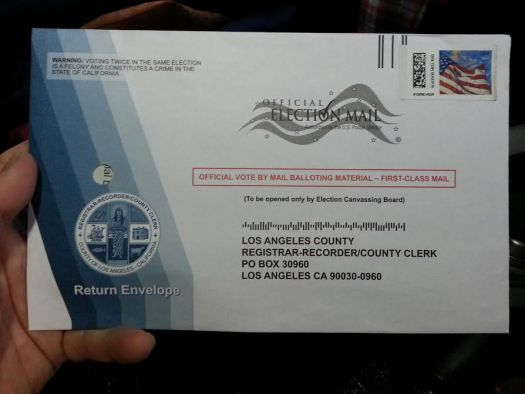 California Democratic Primary election ballot envelope, about to be mailed, 5-15-16.