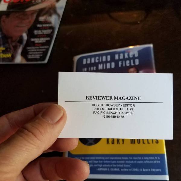 "The old but pristine ""tipped-in"" Reviewer Magazine card."