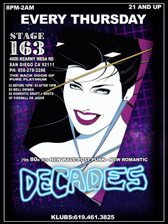 Club Decades flyer, Sn Diego, CA.