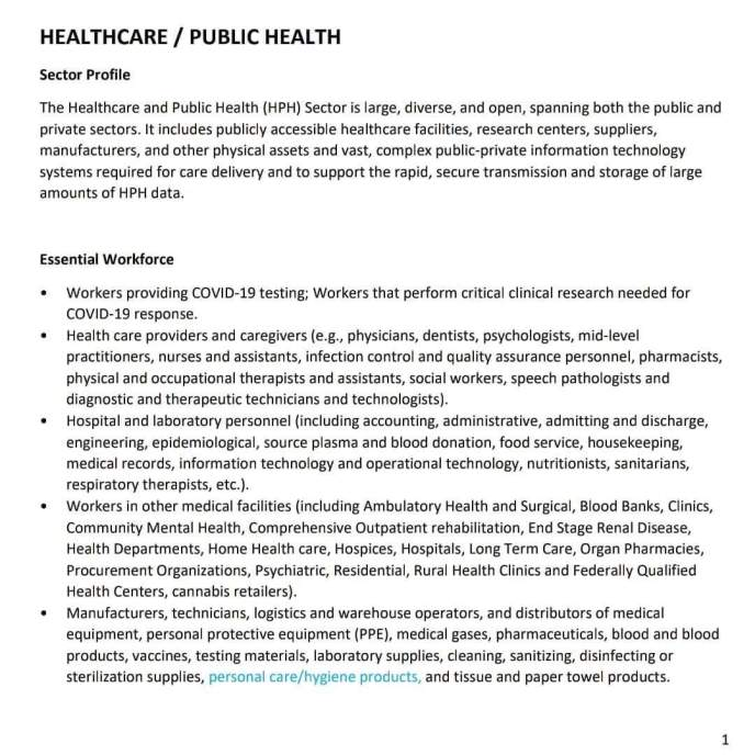 California Essential Workers List PDF image.