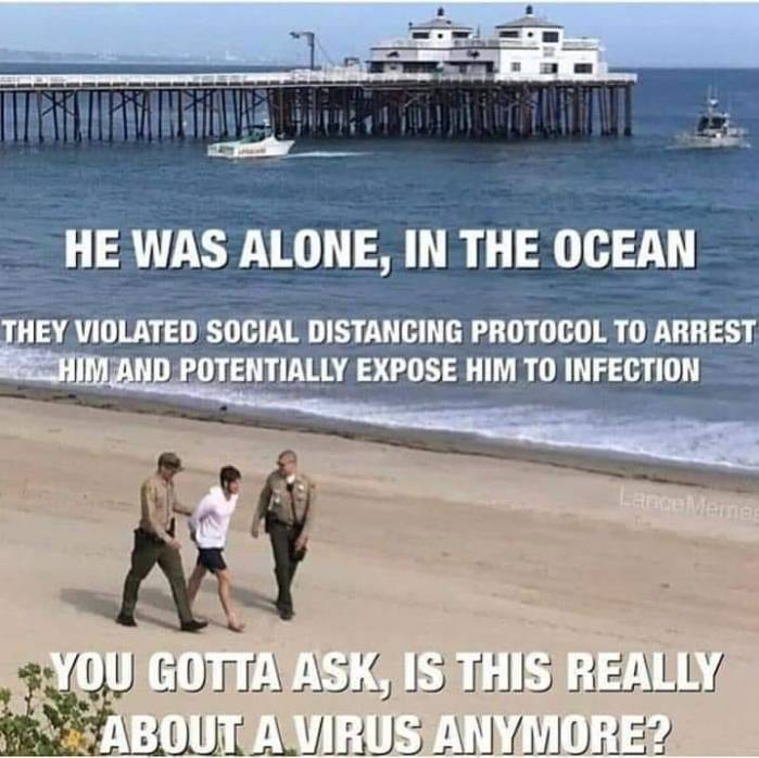 He was alone, in the ocean. They violated social distancing protocol to arrest him and potentially expose him to infection. You gotta ask, is this really about a virus anymore?