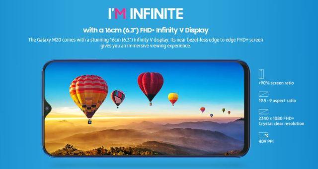 Samsung Galaxy M20 - 6.3-inch FHD+ Infinity V Display