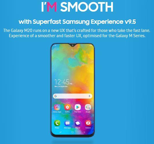 Samsung Galaxy M20 Experience UX v9.5