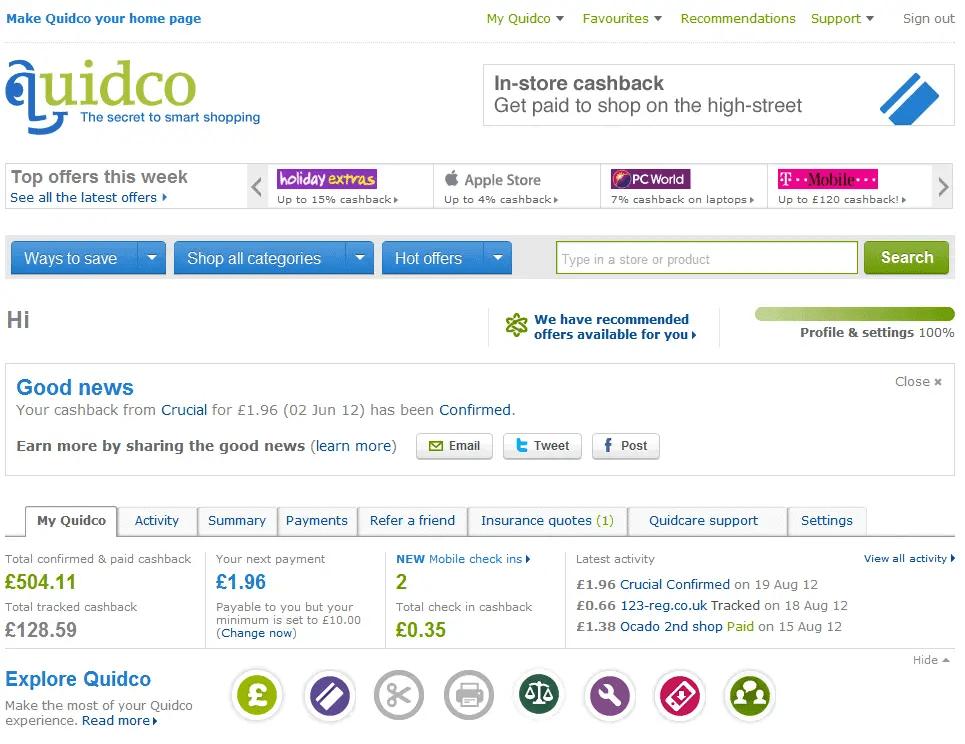 Quidco customer dashboard