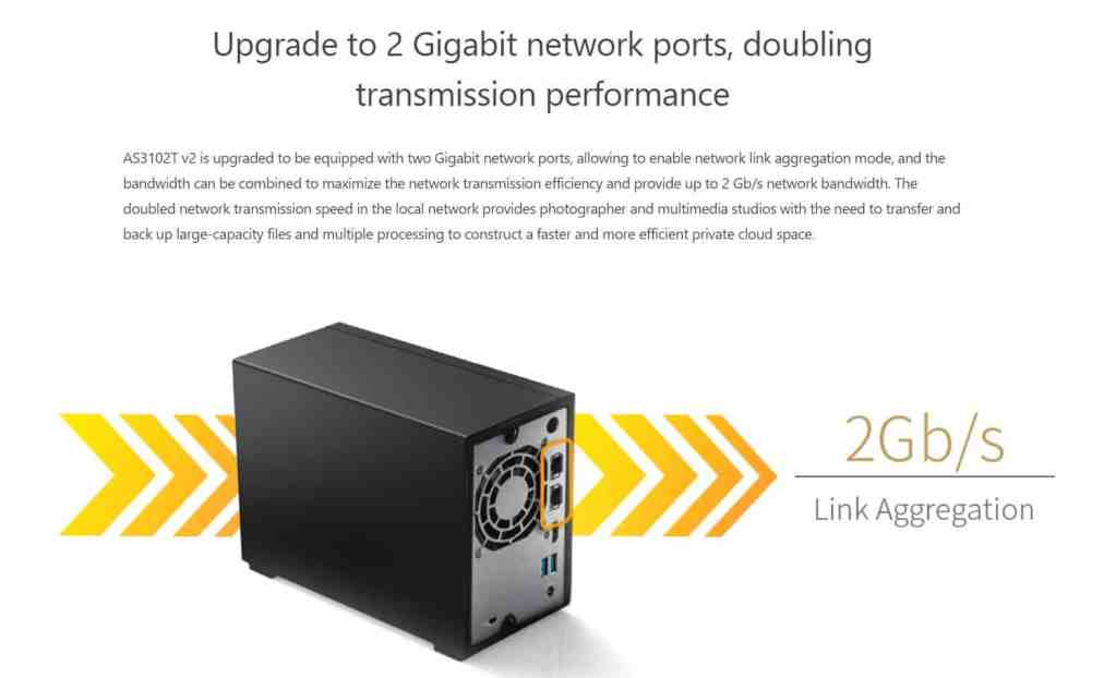 Asustor AS3102T V2 now supports Link Aggregation