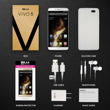 BLU VIVO 5 Smartphone 5.5 inch 4G LTE GSM Unlocked, 1.3GHz Octa Core Processor, 32GB Internal memory, 3GB RAM, Google Android 5.1 Lollipop - Silver