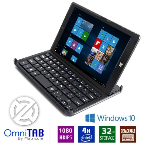 Matricom OmniTAB 8 inch Windows Tablet HD Pro Intel Atom 1.33 GHz Quad Core Windows 10 Tablet PC with Keyboard, 1GB RAM, 32GB Storage, WiFi, Bluetooth, IPS Display
