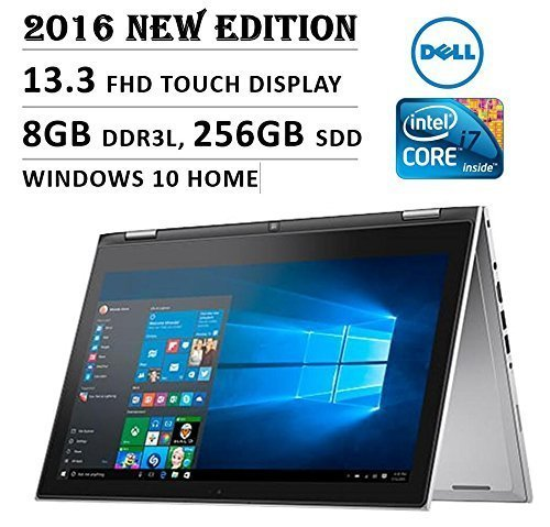 Dell Inspiron 13 7000 Series Laptop 2016, 13-Inch 2-in-1 Convertible Tablet, IPS Full HD LED Touchscreen, Intel Core i7-6500U Processor, 8GB RAM, 256GB SSD, Backlit Keyboard, Windows 10, Certified Refurbished