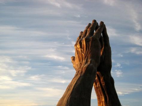 Gratitude hands sky