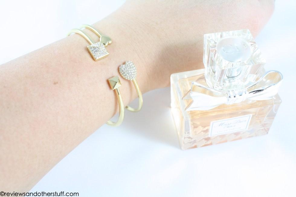 nadri gold plated bracelet on wrist