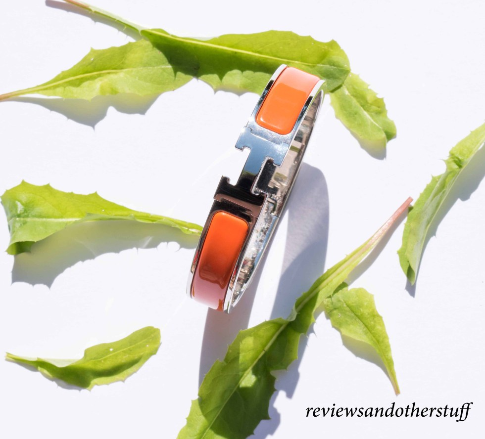 hermes clic h enamel bracelet in orange