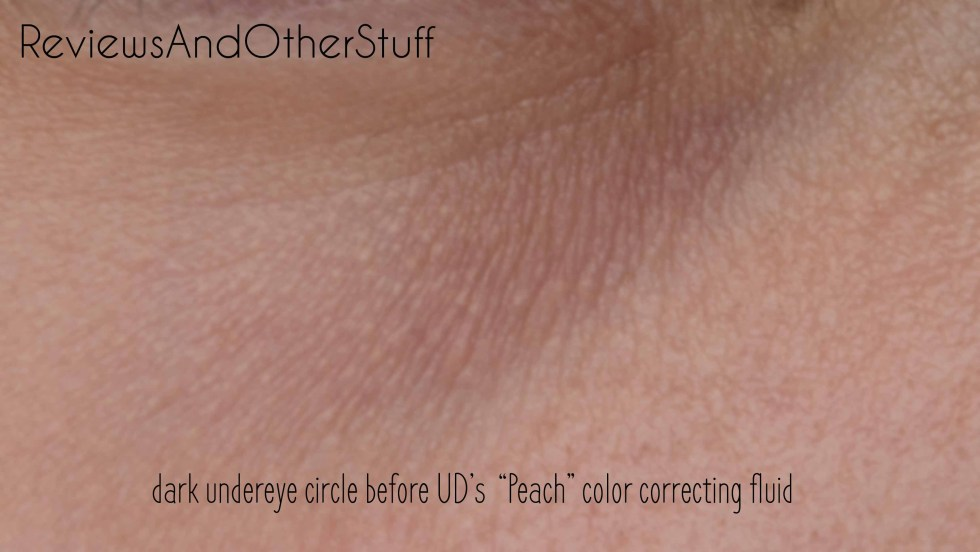before urban decay peach color correcting fluid dark undereye circles