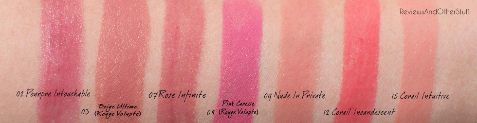 ysl rouge volupte and rouge volupte shine swatches