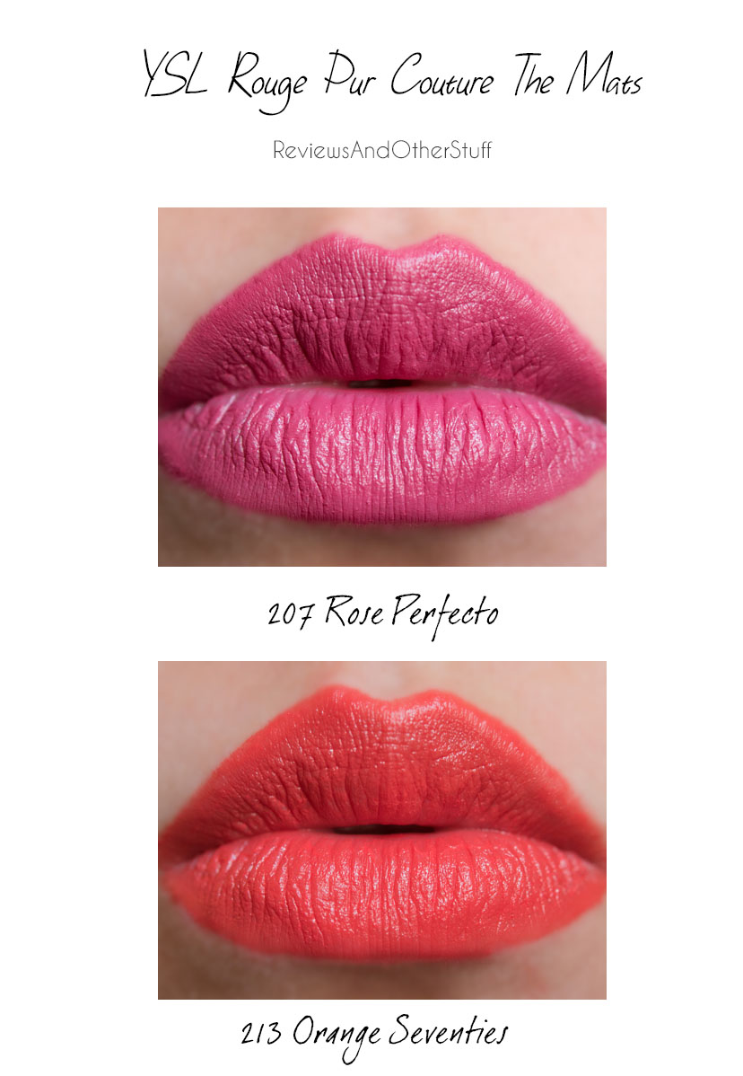 ysl rouge pur couture the mats 207 and 213 lip swatches