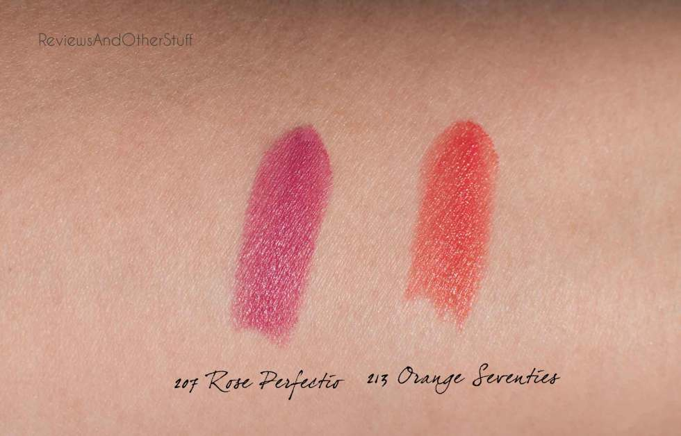 ysl rouge pur couture the mats lipstick in 207 rose perfecto and 213 orange seventies