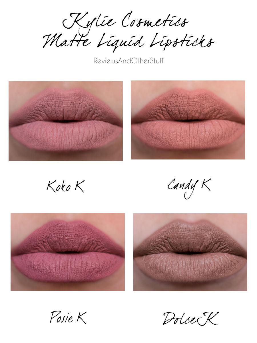 kylie cosmetics matte liquid lipstick review in dolce k koko k candy k posie k