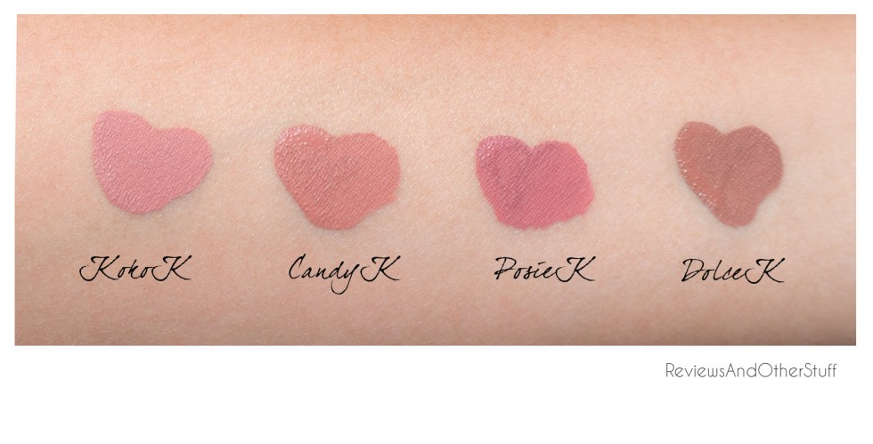 kylie lip kit swatches dolce k koko k posie k candy k