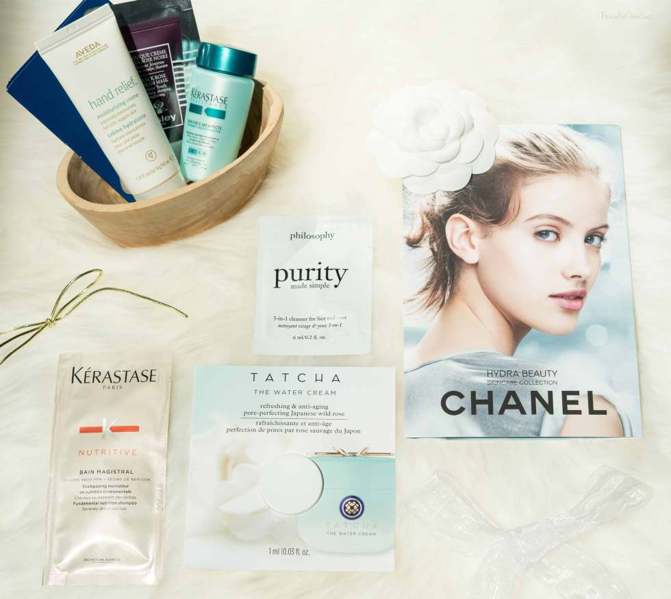 Samples of The Week: Kerastase Bain architecte Bain magistral, Tatcha the water cream, Aveda hand relief cream, Philosophy 3 in 1 face eye Cleanser makeup remover, Sisley Paris Black Rose cream mask, Acqua Di Parma Blu Mediterraneo Mirto Di Panarea Chanel hydra beauty
