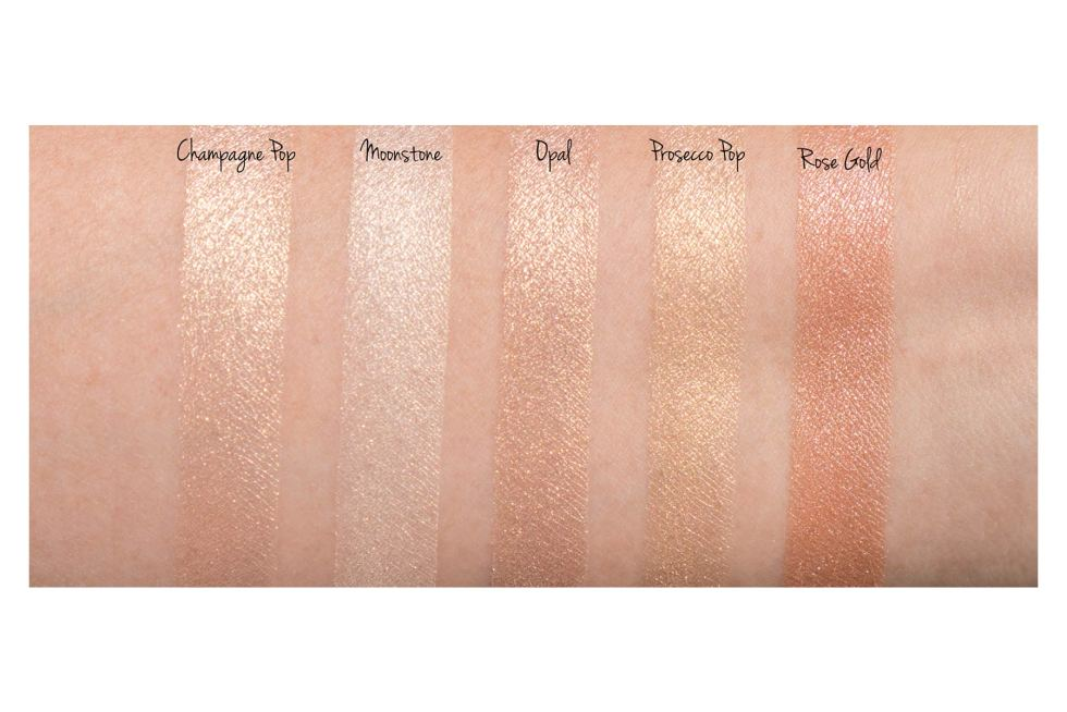 Becca Shimmering Skin Perfector Pressed Highlighter swatches moonstone prosecco pop champagne pop rose gold opal