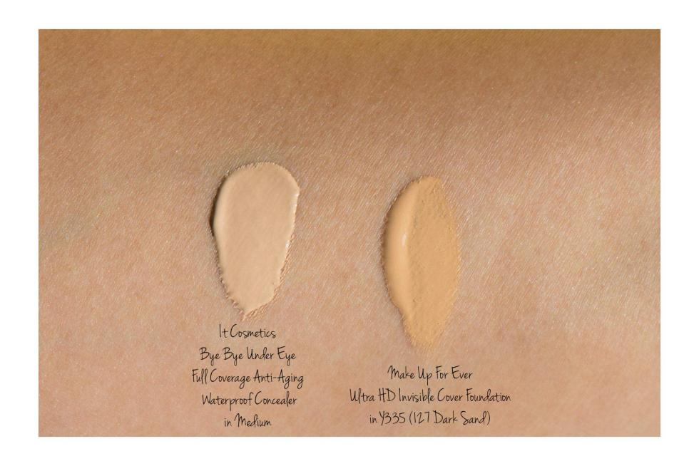 Make Up For Ever Ultra HD Invisible Cover Foundation in Y335 or 127 Dark Sand swatch