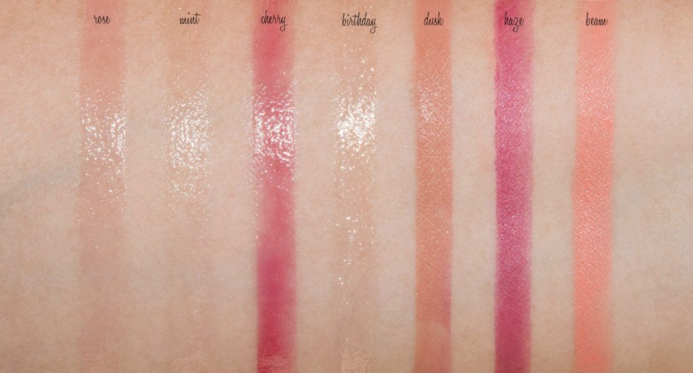 glossier cloud paint haze, dusk, beam, and balm dotcom mint, rose, cherry, birthday swatches