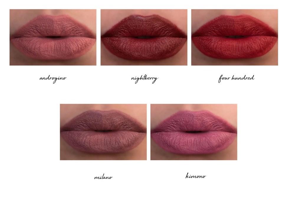 Giorgio Armani Rouge D'Armani Matte Lipstick in 102 androgino, 201 nightberry, 400 four hundred, 501 milano, 502 kimono