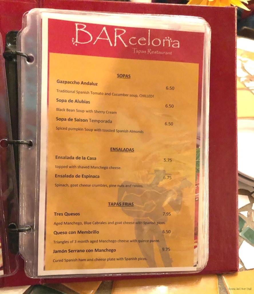 BARcelona tapas restaurant menu