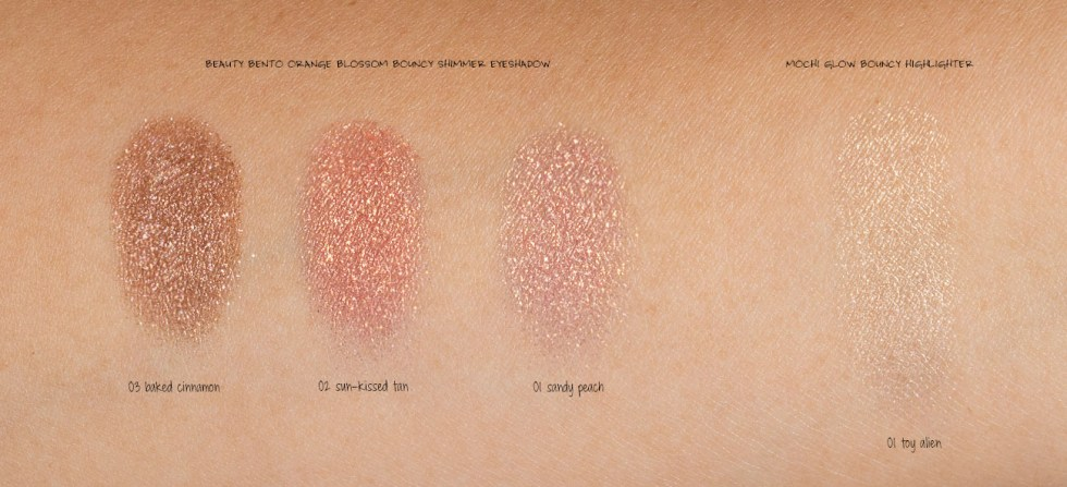 kaja beauty beauty bento orange blossom bouncy shimmery eyeshadow swatch
