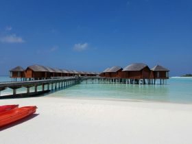 Boardwalk to the over water villas