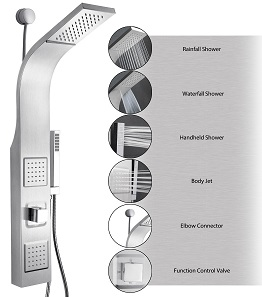 AKDY 39 Stainless Steel Wall Mount Easy Connection Rainfall Waterfall Overhead Multi-Function Shower Tower Panel
