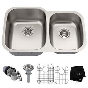 Kraus KBU24 32 inch Undermount 60 40 Double Bowl 16 gauge Stainless Steel Kitchen Sink