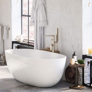 MAYKKE Barnet 61 Modern Oval Acrylic Bathtub Retains Heat White Freestanding Comfortable Soaking Tub