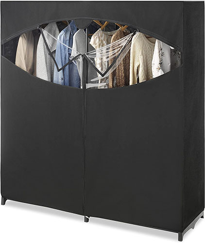 Whitmor-Portable Wardrobe Clothes Storage Organizer Closet with Hanging Rack