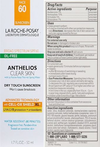 La Roche-Posay Anthelios Clear Skin Face Sunscreen big pack back side