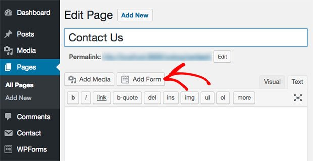 This image shows how to add forms in classic editor