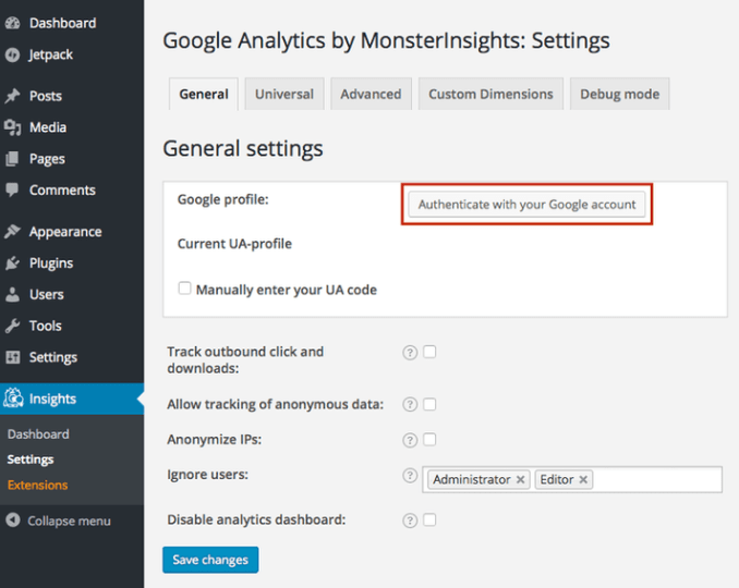 Authenticating the monsterinsights plugin for google analytics
