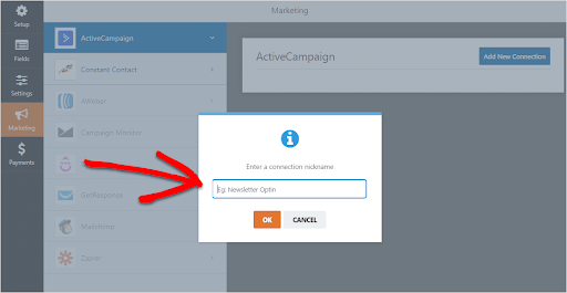 options of adding nickname in active campaign