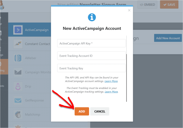ad new active campaign form in wordpress