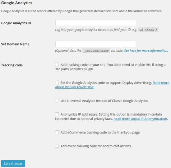 set google analytics ID and domain name