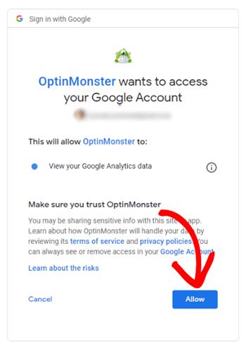 google analytics login with optinmonster