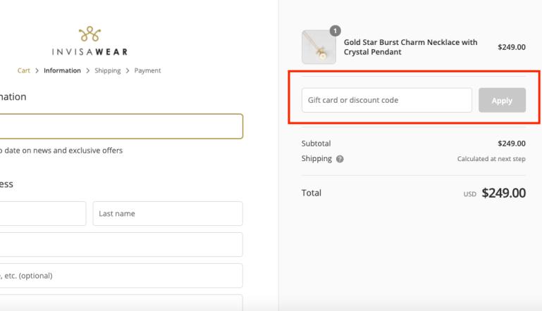 invisawear checkout page