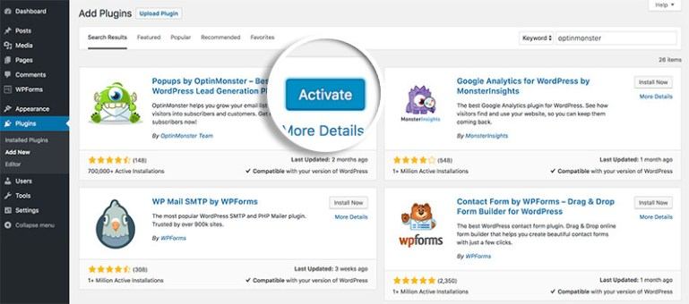 activate and install optinmonster plugin in wordpress
