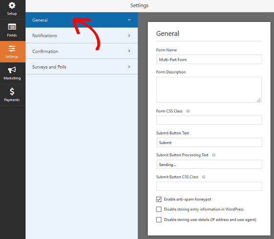 configure multipage form settings in wordpress