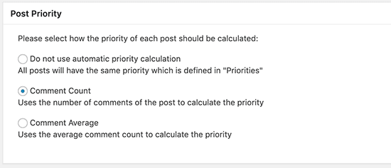 set posts on priority in xml sitemap
